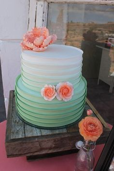 ombre mint cake and peach flowers Peach Mint Wedding, Mint Wedding Cake, Square Wedding Cakes, Wedding Colors, Mint Green Cakes, Mint Cake, Peach Cake, Mint Bridal Showers, Bridal Shower Cakes