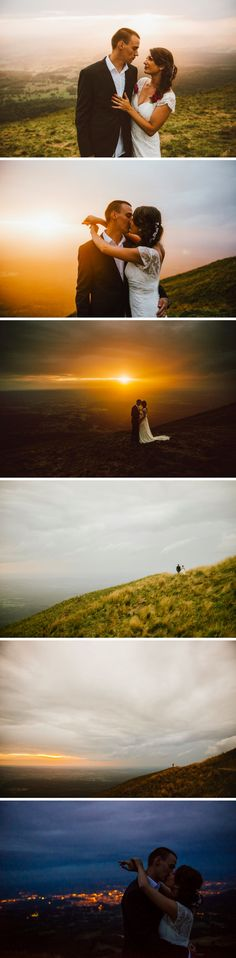 Epic post-wedding and trash the dress session on top of a volcano, under the rain, in central france - gorgeous sunset - armageddon - Zephyr & Luna photograhy