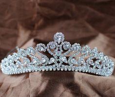 Romantic Flower Tiara Wedding Bridal Crown Clear Austrian Rhinestones Crystal Silver Plated Prom Pageant Party Headband