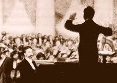 In this famous Pasternak drawing, Koussevitsky leads the Moscow symphony, with Scriabin as soloist