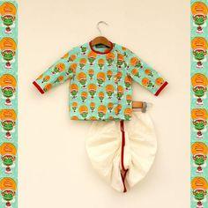 Kathakali Dhoti Kurta Set. #Stylemylo #kids #onlineshopping #kidswear #designerkidswear #rakhi #ethnic #babygirls #babyboys
