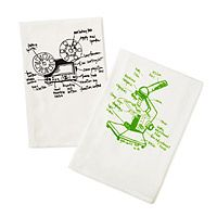 I totally went to college with the girl who makes these!  GEEK TEA TOWELS - SET OF 2|UncommonGoods