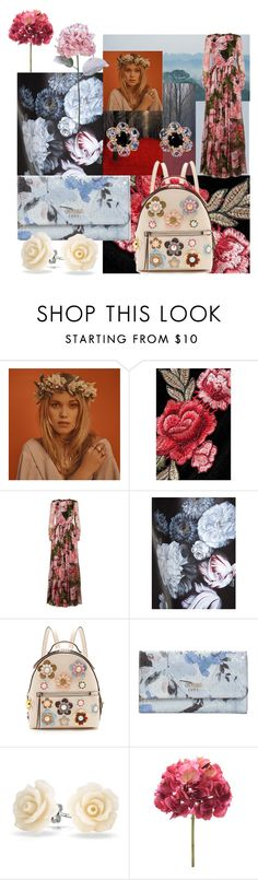 """""""✿Floral❀"""" by dakshapathak on Polyvore featuring Dolce&Gabbana, Alexander McQueen, Fendi, GUESS, Bling Jewelry and Arik Kastan"""