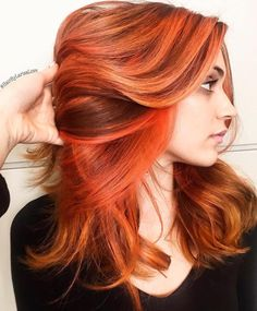Copper Hair With Orange Highlights