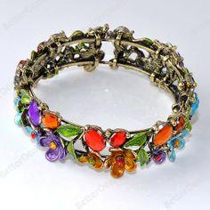 1PC Bronze Colorful Faceted Crystal Resin Teardrop Flower Leaf Bracelet Bangle