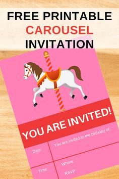 This carousel birthday party invitation with a horse would be so cute to invite your birthday party guests to your carousel themed birthday party. It features a carousel birthday invite. Carousel birthday ideas are so fun to introduce your little girls birthday party. Be sure to download this free printable carousel invite now! Save this pin for later. Be sure to head over to our blog, VanahLynn.com to see strawberry birthday games and watermelon birthday food ideas. Pink And Gold Birthday Party, Birthday Party Outfits, Little Girl Birthday, Birthday Games, Unicorn Birthday Parties, Birthday Party Invitations, Birthday Ideas, Carousel Themed Birthday, Printable Birthday Banner