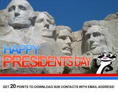 Happy Presidents Day! Today only-Get 20 points to download B2B contacts with email address!    Call Us @ 866-535-3960