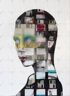 art, creative, design, floppy disk, Inspiration, Portrait, illustration,
