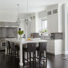 White Kitchen with Glossy Gray Linear Backsplash Tiles