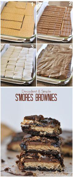DIY Smores Brownies baking recipe brownies recipes ingredients instructions desert recipes brownie recipes easy recipes smores desert recipe food tutorials
