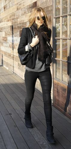 Rosie Huntington Whitley Street Style The all black/ grey - the whole outfit I would love to own