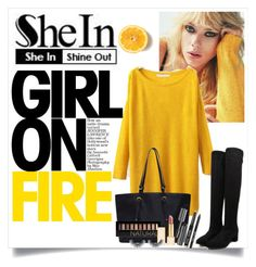 """""""SHEIN:  Split Yellow Sweater"""" by karen-bachman ❤ liked on Polyvore featuring Forever 21, Tory Burch and Bobbi Brown Cosmetics"""