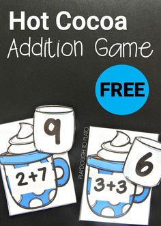 FREE hot chocolate addition to 10 game. Super fun math center for kindergarten or first grade! This would be perfect for a winter unit. Math Resources, Math Activities, Math Strategies, Winter Activities, Therapy Activities, Kindergarten Centers, Addition Games For Kindergarten, Math Addition Games, Homeschool Kindergarten