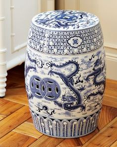 ceramic garden stools just love! I put a candlestick small lamp inside mine - from underneath - it looks really cute and is great night light Ceramic Stool, Ceramic Garden Stools, Blue And White China, Blue China, Kintsugi, Ikebana, Dragon Garden, Vases, Oriental Furniture