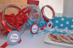 Elmo Red Aqua Dessert Table Party Decor Sugar Cookies