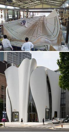 He aquí un vistazo a cómo se hicieron los paneles escultórico de la tienda Dior Flagship En Seúl