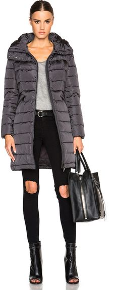 moncler flammette down coat with stowable hood