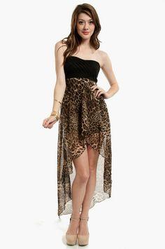 Tobi | On Air Hi-Low Dress in Leopard - $40