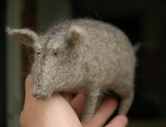 old needle felted boar