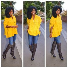 Yellow Chunky Knit Sweater with Knee High Boots #cardigan #knit #sweater