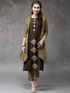 Buy Anouk Women Olive Green & Brown Solid Kurta with Trousers online in India at best price.Olive green and brown solid kurta with trousers Olive green and brown A-line knee-length kurta, has a Kurta Designs, Suits For Women, Jackets For Women, Clothes For Women, Pakistani Dresses, Indian Dresses, Pakistani Clothing, Aso Ebi Dresses, Indian Tunic