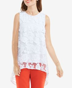 a3b176cfb58fc4 Vince Camuto High-Low Lace Top   Reviews - Tops - Women - Macy s