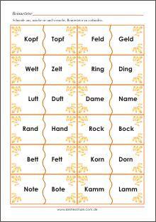 Reimwörter Bildkarten - Lernkarten für Vorschul- und ...