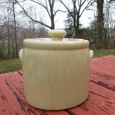 Vintage McCoy Pottery Soup Crock/ Bean Pot - Large Tan McCoy Crock - McCoy 1424