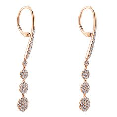 14k Pink Gold Diamond Drop Earrings | Gabriel & Co NY | EG12961K45JJ