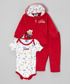 This Red 'Cowboy' Zip-Up Hoodie Set - Infant is perfect! #zulilyfinds