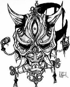 japanese tattoos designs and meanings Japanese Mask Tattoo, Tattoo Japanese Style, Japanese Tattoo Designs, Oni Mask Tattoo, Hanya Tattoo, Badass Tattoos, Body Art Tattoos, Cool Tattoos, Tattoo Sketches