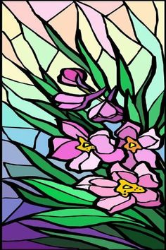 Purple Stargazer Lily Flower With Blue ButterflyVinyl Stained - Custom vinyl decals for glass   removal options