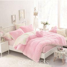 Solid Pink and Creamy White Color Block Fluffy Bedding Sets/Duvet Cover Sets Purple Bedding Sets, Dorm Bedding Sets, Luxury Bedding Sets, Quilt Bedding, Comforter Sets, King Comforter, Bed Duvet Covers, Duvet Cover Sets, Bed Linen Australia