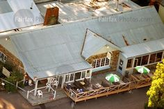 An aerial view of the Broad Arrow cafe at the Port Arthur historic site where a lone gunman shot and killed 35 people during the Port Arthur massacre, Tasmania, 30 April 1996. THE AGE Picture by BRUCE POSTLE