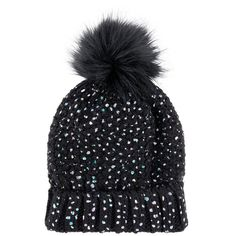 Accessorize Thinsulate™ Foiled Faux Fur Pom Beanie Hat ($39) ❤ liked on Polyvore featuring accessories, hats, faux fur beanie hat, faux fur hat, faux fur pom pom hat, pom beanie and foil hat