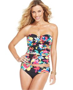 Anne Cole Floral-Print Bandeau Tankini Top & Banded Brief Bottom - Swimwear - Women - Macy's