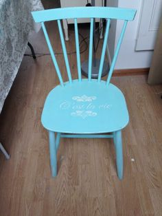 Shabby turquoise chair with stencil £15