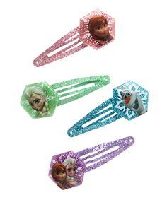 Frozen Glitter Snap Clip Set | zulily