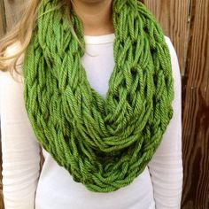 Green Arm Knit Scarf, Chunky Cowl, Thick Infinity Scarf on Etsy, $20.00