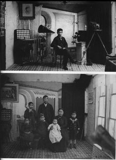 TOP Figure 2: B.A. self-portrait inside his studio, circa 1900. #88.1.71.2, Tongass Historical Museum. BOTTOM Figure 3: Family Portrait taken in B.A.'s studio in Metlakatla, AK. Circa 1900 ACR#297620, Sir Henry Wellcome Collection, National Archives - Pacific Alaska Region