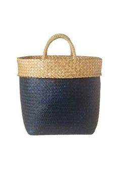 large kadjut basket - capacious, short-handled woven basket with a...