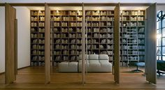 So Private Home Library Interior Design with Full Length Window : Outstanding Wooden Doors On Open Plan Home Library Designed With Wooden Floor Also Sleek White Ceiling And Walls