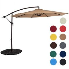 Sundale Outdoor 10 Feet Aluminum Offset Patio Umbrella with Crank, for Deck, Garden, Polyester Canopy Shade -Tan Ikea Canopy, Canopy Bedroom, Fabric Canopy, Diy Canopy, Canopy Tent, Window Canopy, Beach Canopy, Canopy Curtains, Offset Patio Umbrella