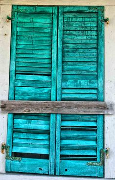 Caribbean Blue Shutters on Key West Conch House