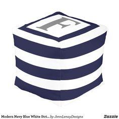 Modern Navy Blue White Striped Monogram Outdoor Pouf Dark Navy Blue, Blue And White, Grey, Outdoor Pouf, Outdoor Decor, Modern Backyard, Pouf Ottoman, Black Square, Extra Seating