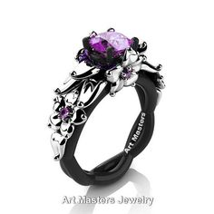 This gorgeous Nature Inspired Black and Rose Gold Ct Pink Sapphire Floral Engagement Ring would make an excellent engagement ring or a great present for one you love the most. Includes: * 1 x over grams TW (approx) of cast solid black gold ring (black Fantasy Jewelry, Gothic Jewelry, Cute Jewelry, Bridal Jewelry, Jewelry Rings, Jewlery, Gold Diamond Rings, Gold Ring, Amethyst Rings