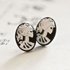 Miss Skeleton Cameo earrings - Made In USA Surgical Steels - White Black Zombie Gothic Girl. $10.00, via Etsy.