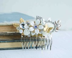 WHITE Bridal HAIR COMB Gold Vintage Hair