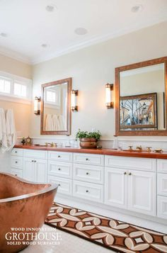 Tigerwood Vanity Countertop with waterproof finish designed by Joyce Zuelke, CKD at Geneva Cabinet Company for a Lakefront Conservatory Home in Wisconsin Vanity Countertop, Bathroom Countertops, Marble Countertops, Wooden Bathroom, Wood Vanity, Amazing Bathrooms, Lake Geneva, Vanity Ideas
