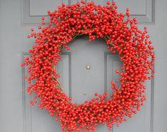 Crimson Berry Window Winter Wreath Birch by TheLinnetsWing